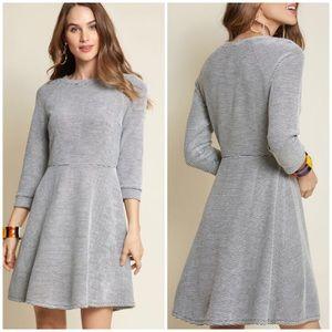 ModCloth Lace & Mesh 3/4 Sleeve Striped Dress NWOT